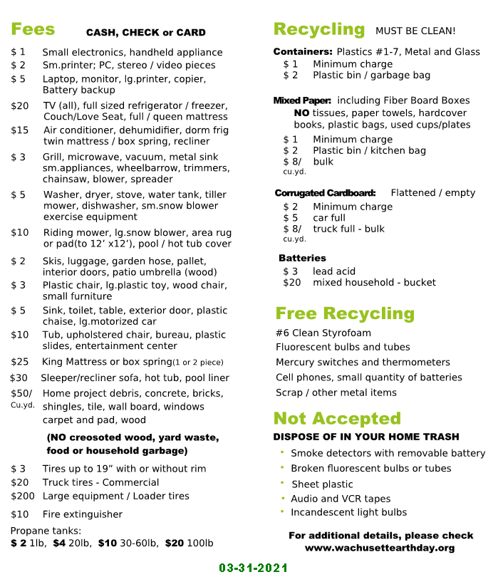 recycling fees price list