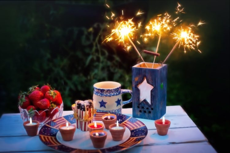 4th of july picnic with sparklers