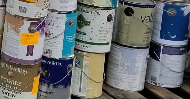 cans of latex paint